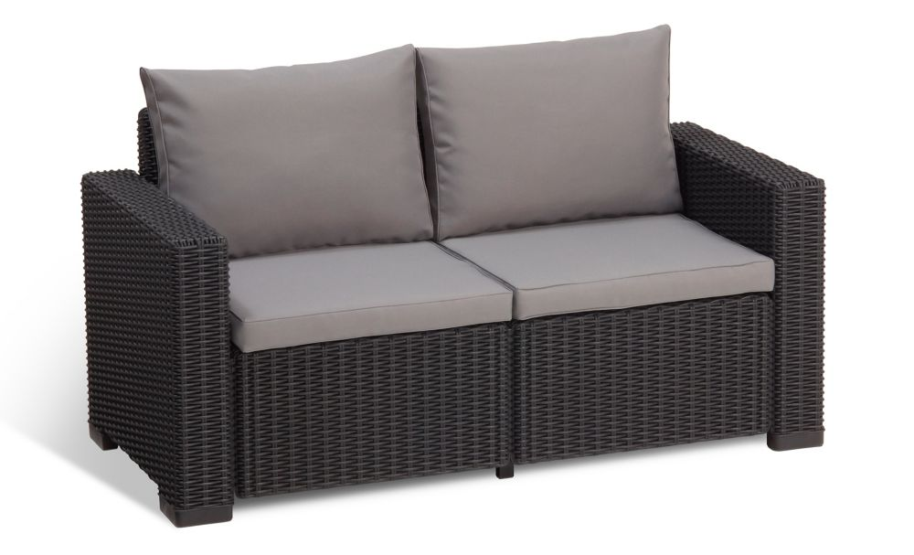 ALLiBERT California 2-Seater Outdoor Loveseat in Charcoal
