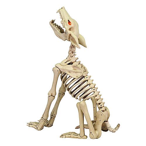 28-inch Animated Howling Skeleton Wolf with LED Illuminated Eyes
