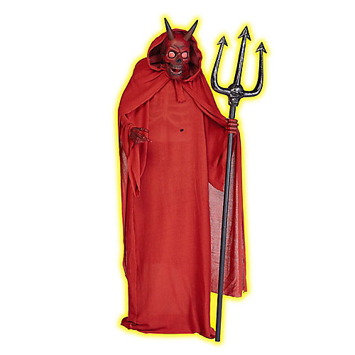 72-inch Animated Skeleton Devil in Red Cloak with Pitch Fork