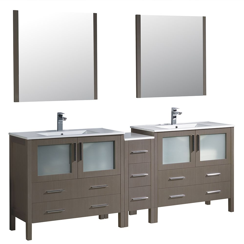 Torino 84-inch W Double Vanity in Grey Oak with Side Cabinet and Integrated Sinks
