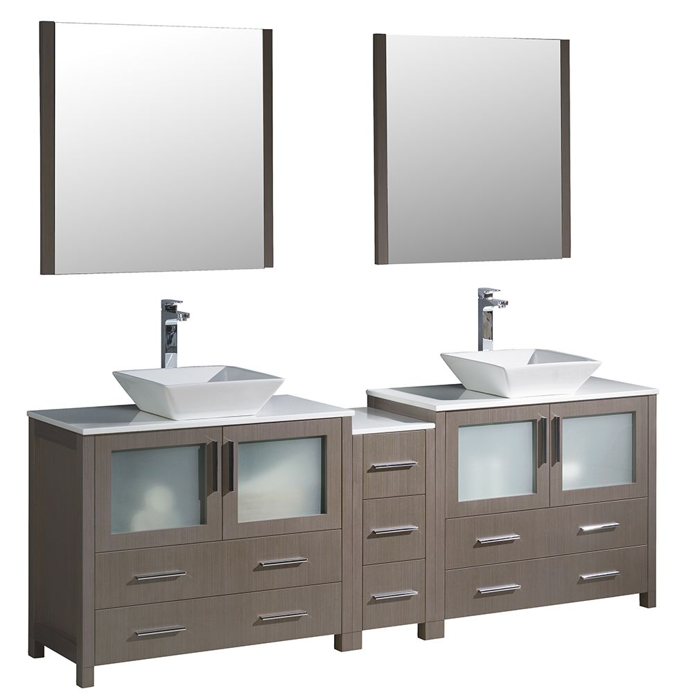 Torino 84-inch W Double Vanity in Grey Oak with Side Cabinet and Vessel Sinks
