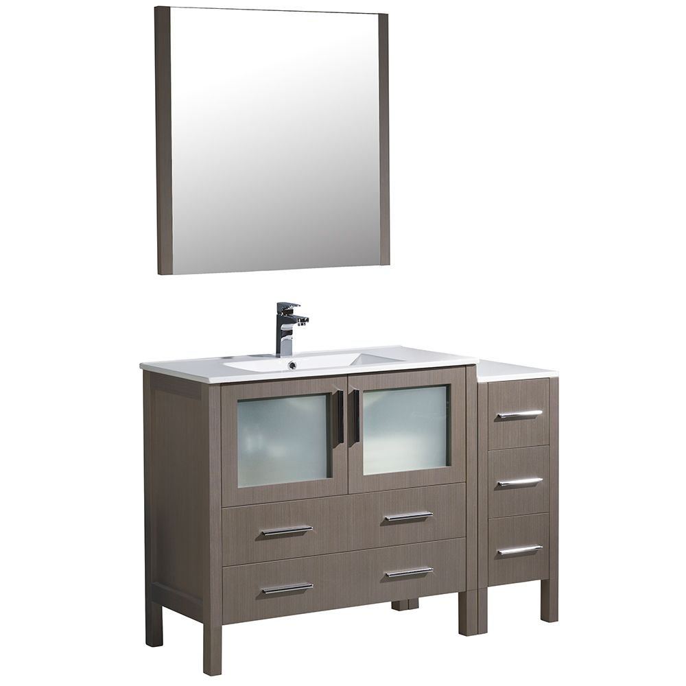 Torino 48-inch W Vanity in Grey Oak with Side Cabinet and Integrated Sink