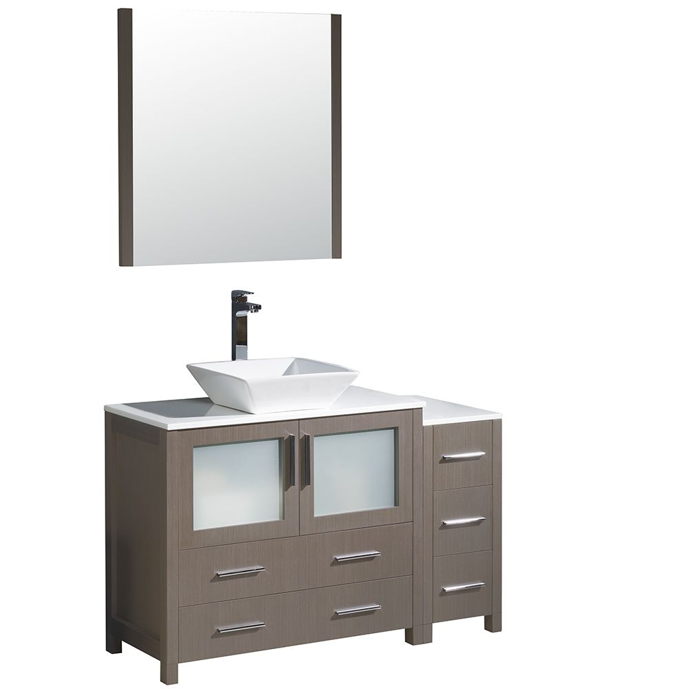 Torino 48-inch W Vanity in Grey Oak with Side Cabinet and Vessel Sink