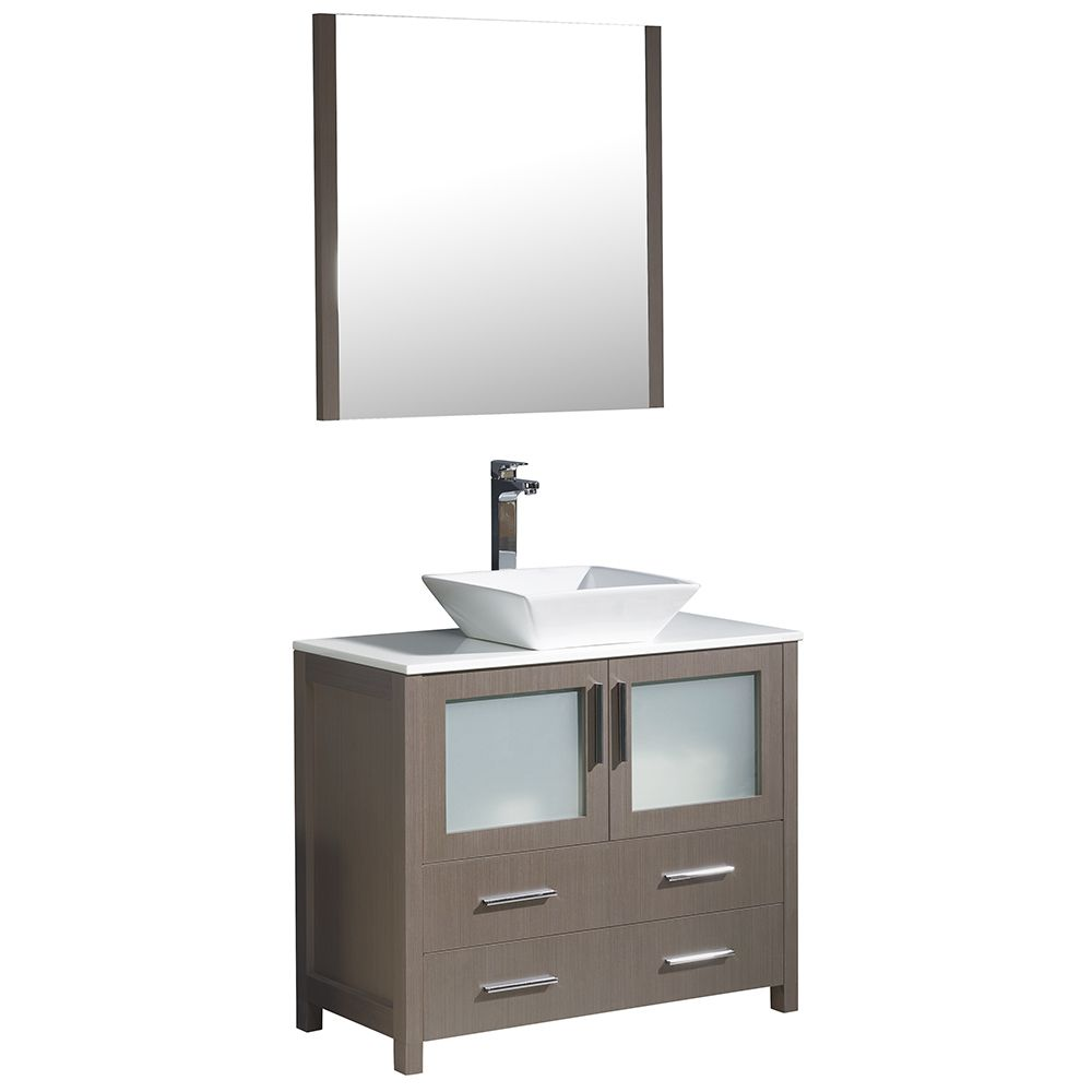 Torino 36-inch W Vanity in Grey Oak with Vessel Sink and Mirror