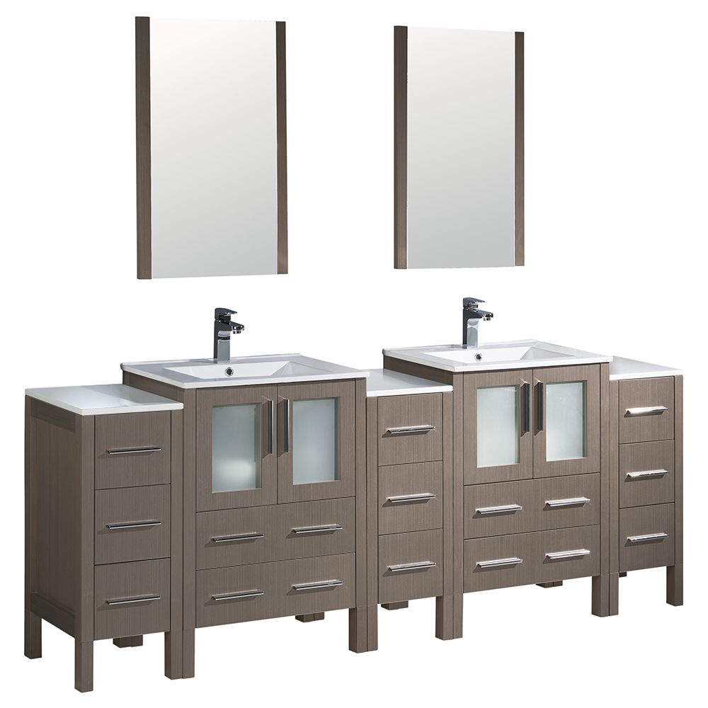 Torino 84-inch W Double Vanity in Grey Oak with 3 Side Cabinets and Integrated Sinks