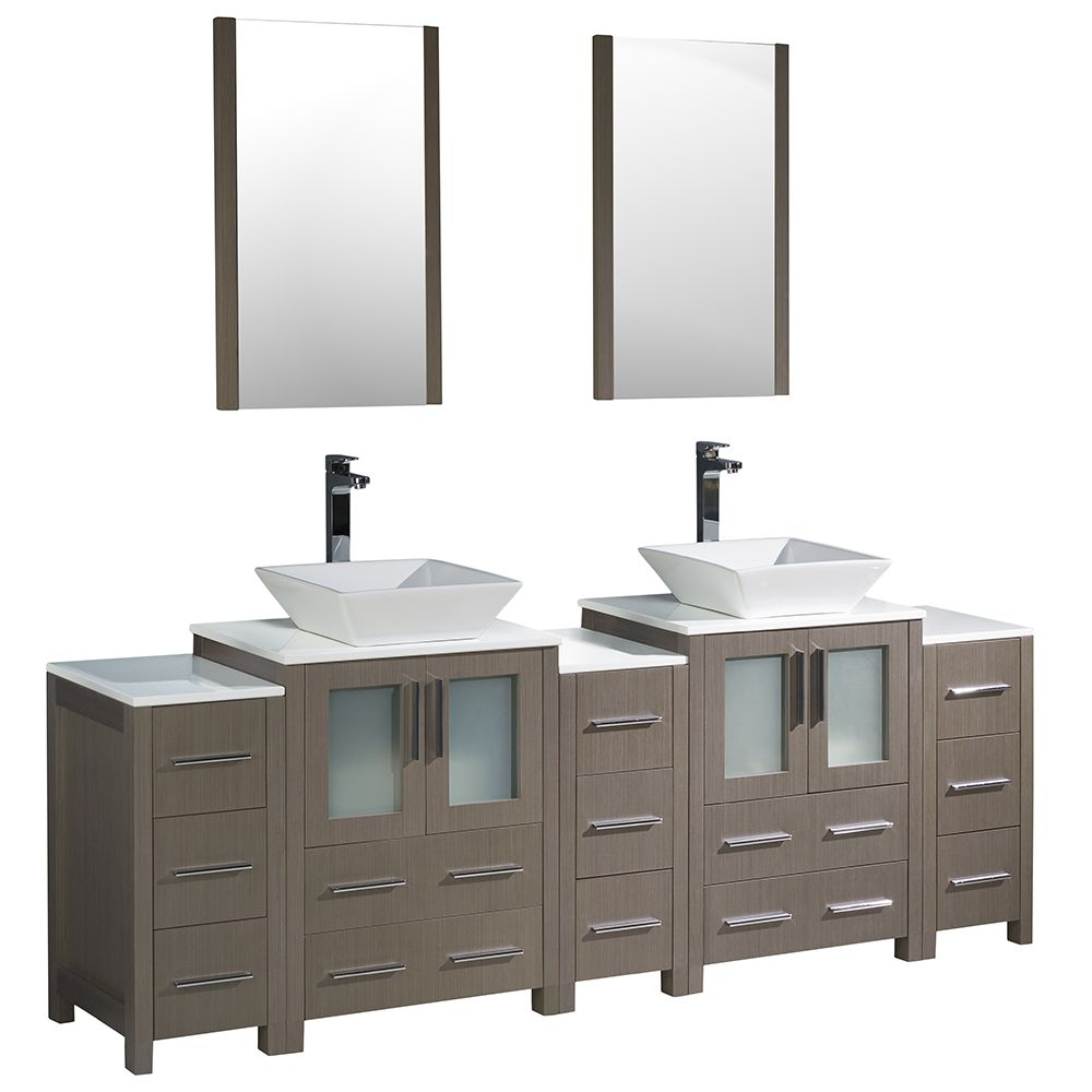 Torino 84-inch W Double Vanity in Grey Oak with 3 Side Cabinets and Vessel Sinks