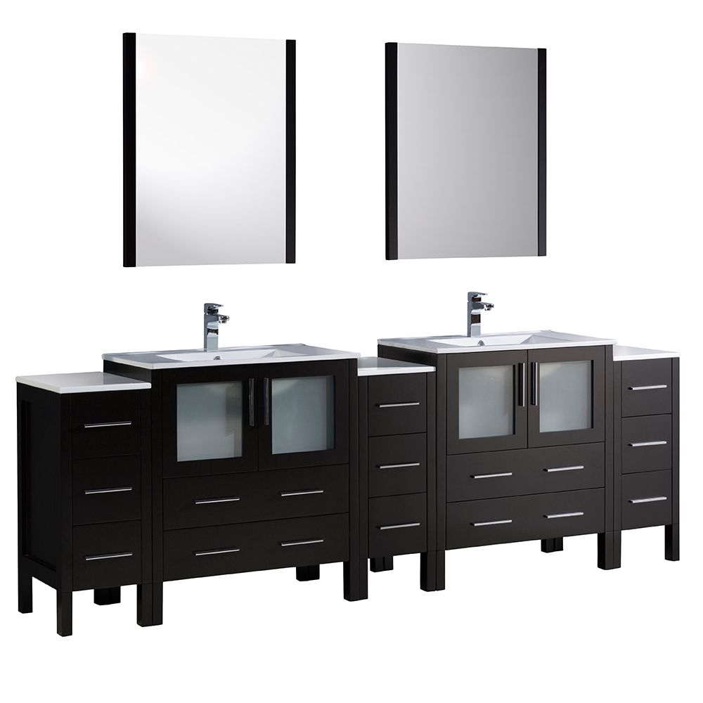 Torino 96-inch W Double Vanity in Espresso with 3 Side Cabinets and Integrated Sinks