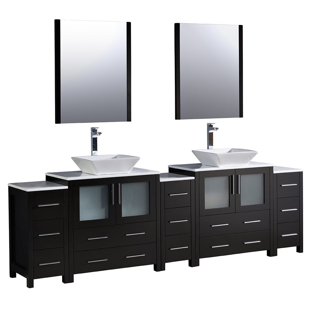 Torino 96-inch W Double Vanity in Espresso with 3 Side Cabinets and Vessel Sinks