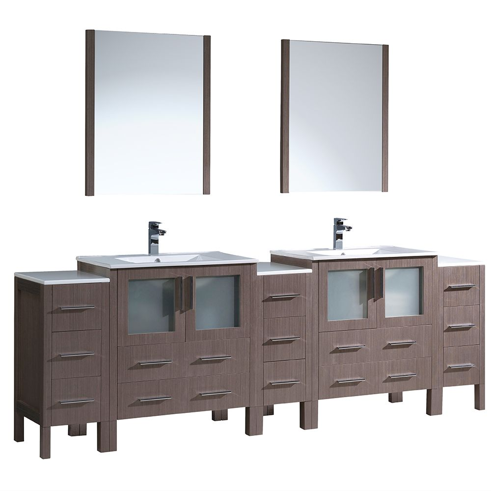 Torino 96-inch W Double Vanity in Grey Oak with 3 Side Cabinets and Integrated Sinks