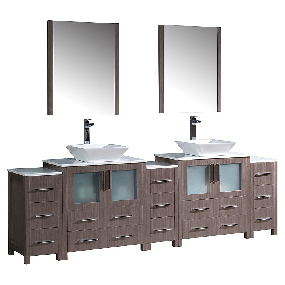 Torino 96-inch W Double Vanity in Grey Oak with 3 Side Cabinets and Vessel Sinks