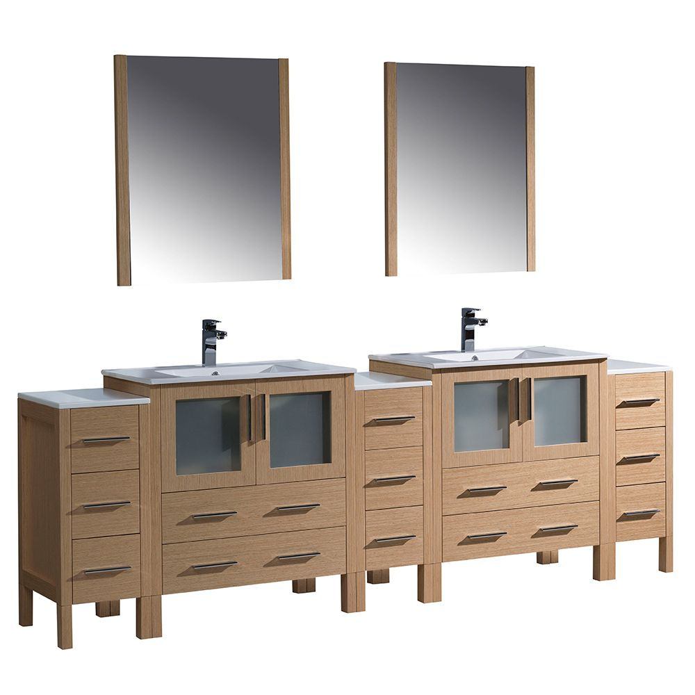 Torino 96-inch W Double Vanity in Light Oak with Integrated Basins and Mirror