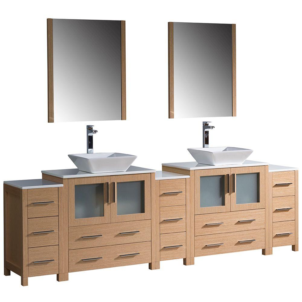 Torino Meuble-lavabo de salle de bains moderne 96 po chêne clair avec 3 armoires latérales