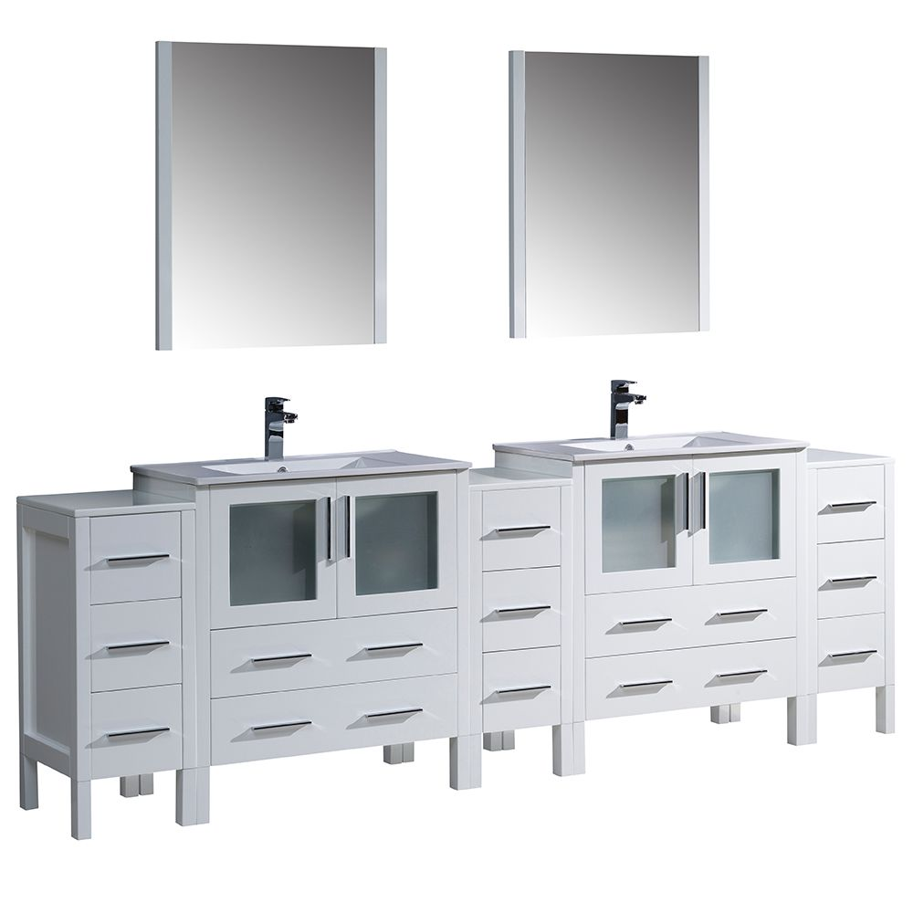 Torino 96-inch W Double Vanity in White with Integrated Basins and Mirror