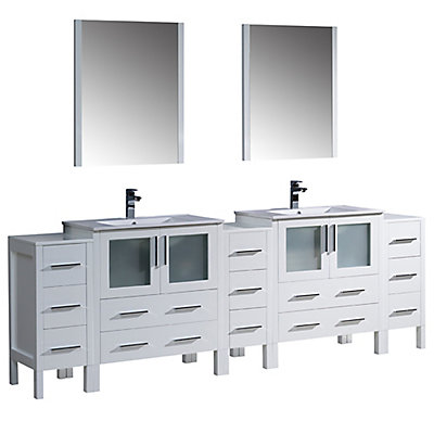 Fresca Torino 96-inch W Double Vanity in White with Integrated ... on 59 inch bathroom vanity, 16 inch bathroom vanity, 64 inch bathroom vanity, 10 inch bathroom vanity, 54 inch bathroom vanity, 32 inch bathroom vanity, 60 inch bathroom vanity, 85 inch bathroom vanity, 34 inch bathroom vanity, 57 inch bathroom vanity, 68 inch bathroom vanity, 50 inch bathroom vanity, 100 inch bathroom vanity, 83 inch bathroom vanity, 66 inch bathroom vanity, 70 inch bathroom vanity, 52 inch bathroom vanity, 98 inch bathroom vanity, 44 inch bathroom vanity, 33 inch bathroom vanity,