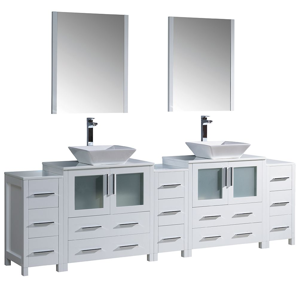 Torino 96-inch W Double Vanity in White with Vessel Basins and Mirror