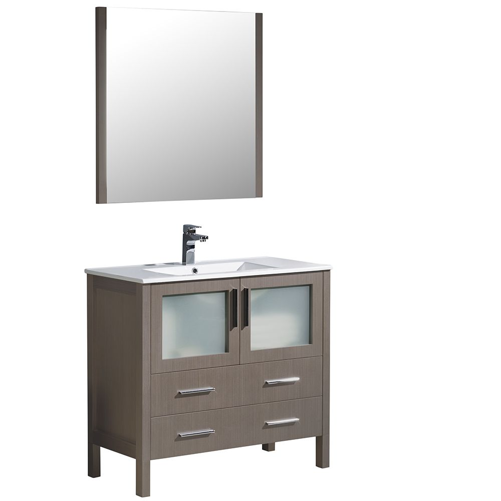 Torino 36-inch W Vanity in Grey Oak with Integrated Sink and Mirror