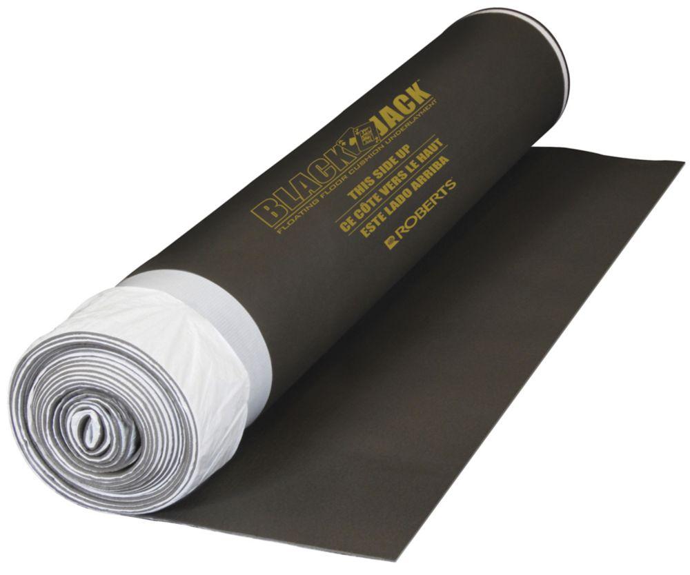 Black Jack 100 sq. ft. 28 ft. x 43 in. x 2.5 mm Premium 2-in-1 Underlayment for Laminate Wood Flo...