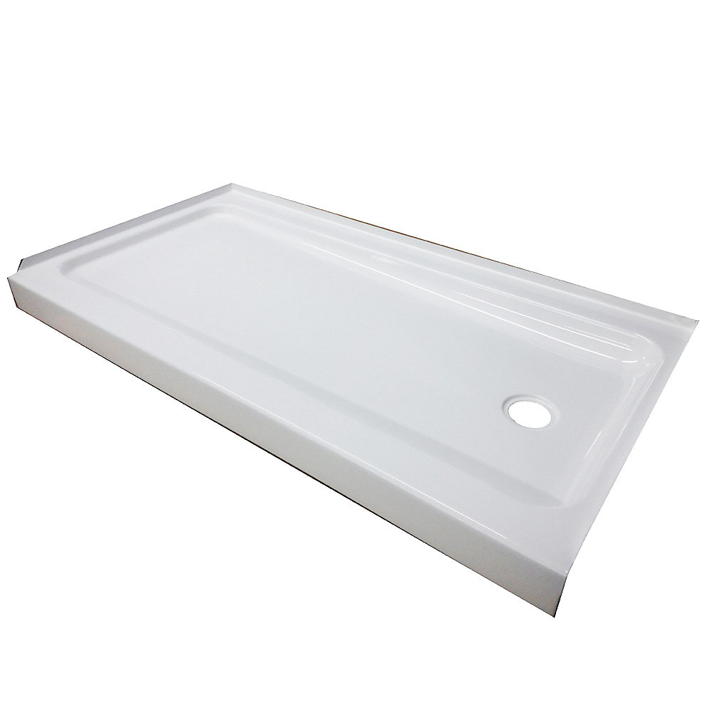 60x30x4 Porcelain/Steel Shower Base LH White