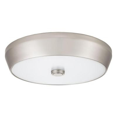 15 Inch  Denon LED Brushed Nickel Deep Pan Flush Mount - 4000K
