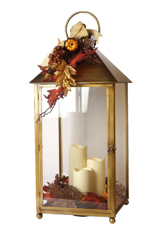 HAR Lrg Harvest Lantern W/ Led Candle