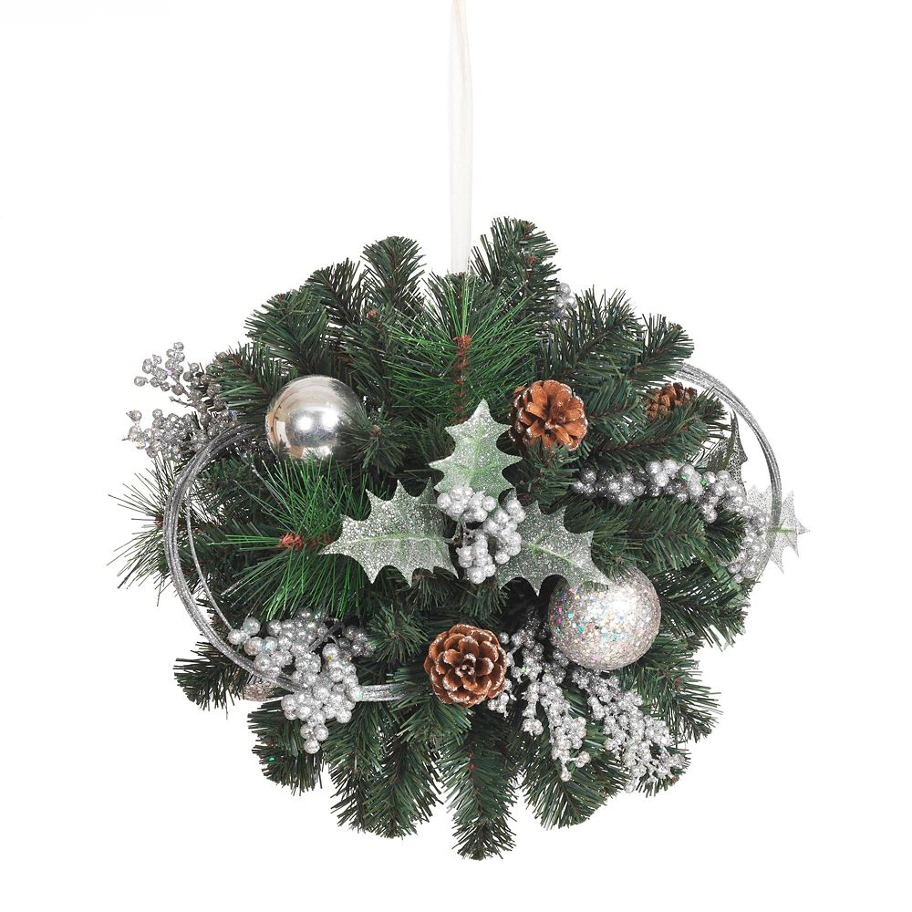 14 Inch PVC Kissing Ball With Silver Ornaments (Unlit)