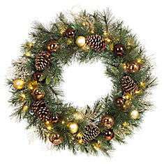 30 -inch Bronze Copper Wreath Battery Operated LED