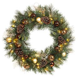 Home Accents Holiday 30 -inch Bronze Copper Wreath Battery Operated LED