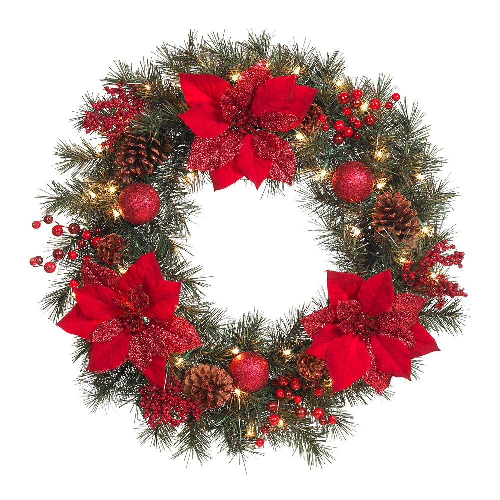 30 Inch Glitter Red Pointsetta Wreath P/I LED
