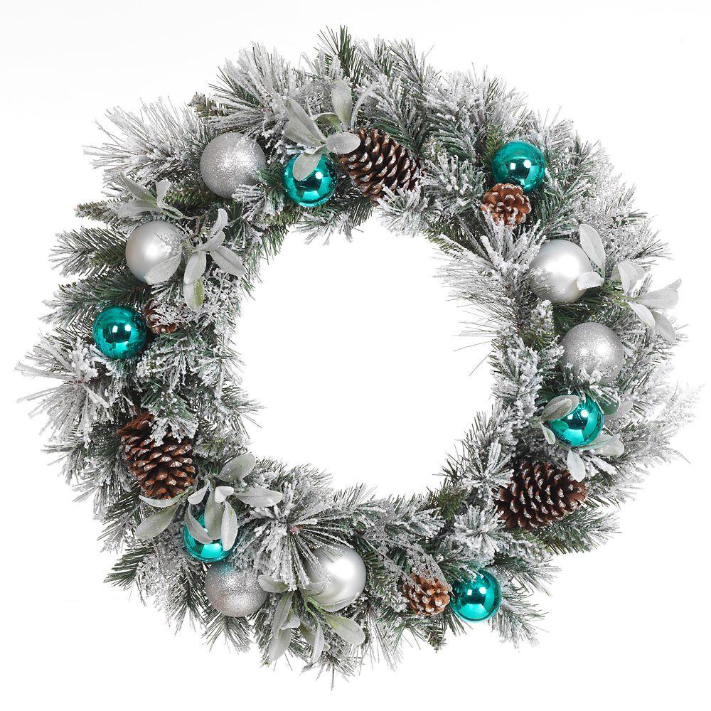30 Inch Flocked Blue & Silver Snowy Wreath (Unlit)