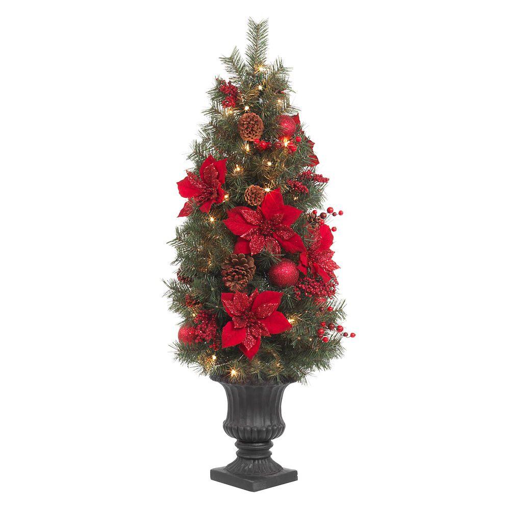 Arbre de porche de 1,22m (4pi) à poinsettia rouge scintillant, illuminé dampoules DEL