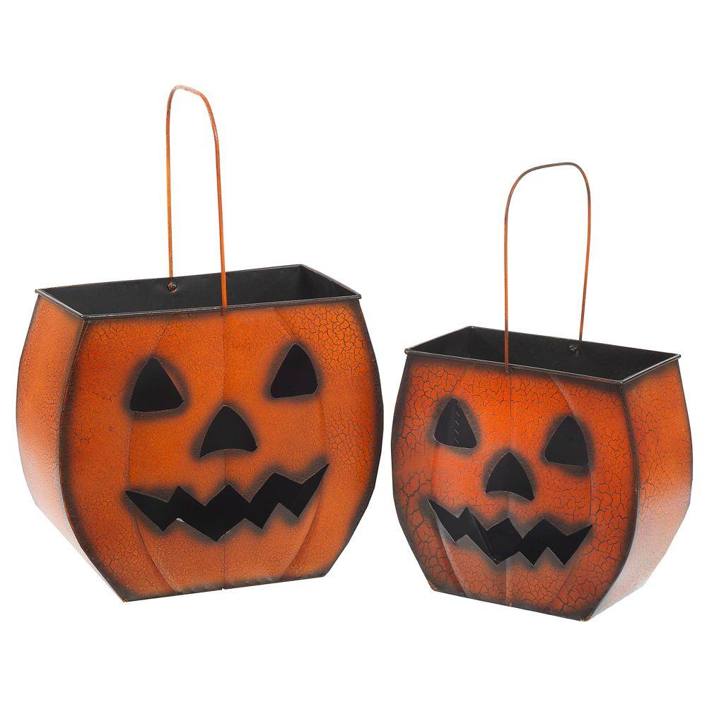 S/2 Metal Nesting Halloween Pumpkin Lanterns