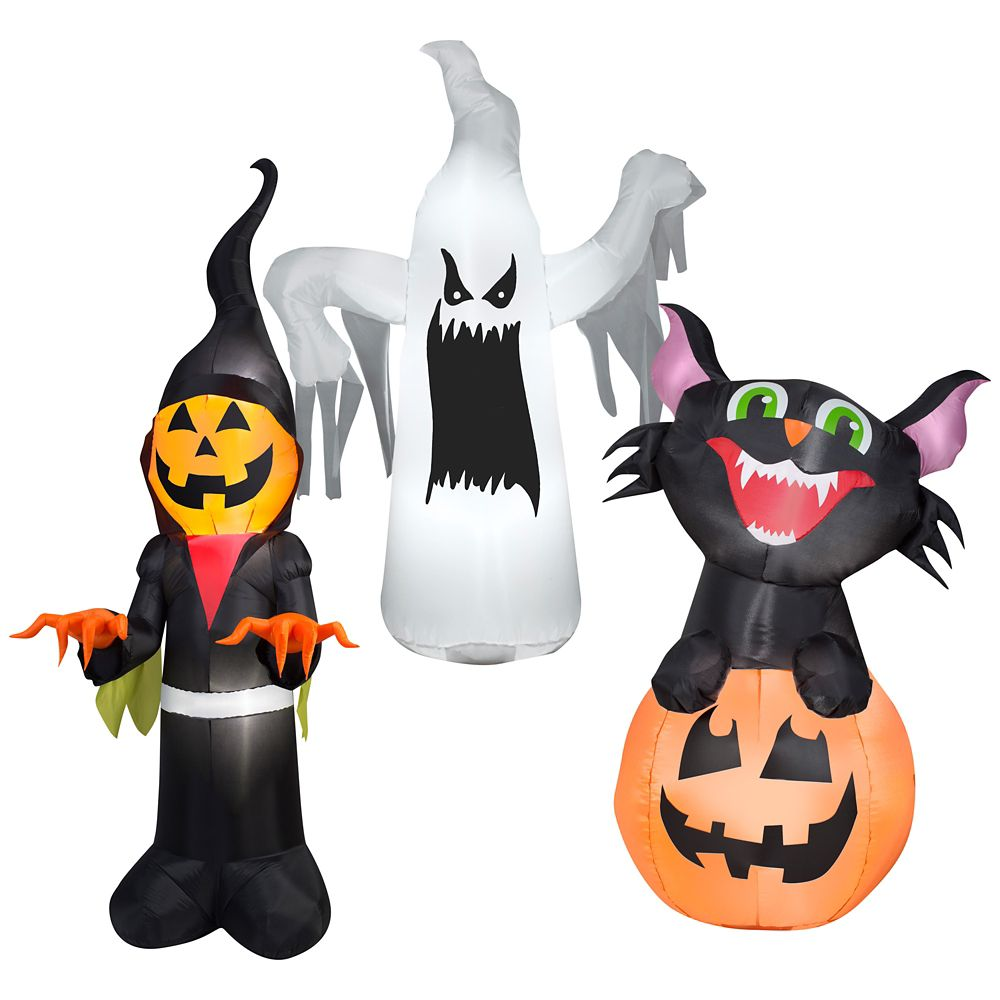 3.5 Foot Airblown Characters Assortment 3 Styles Cat Or Pumpkin Or Scary Ghost Or Pumpkin Man