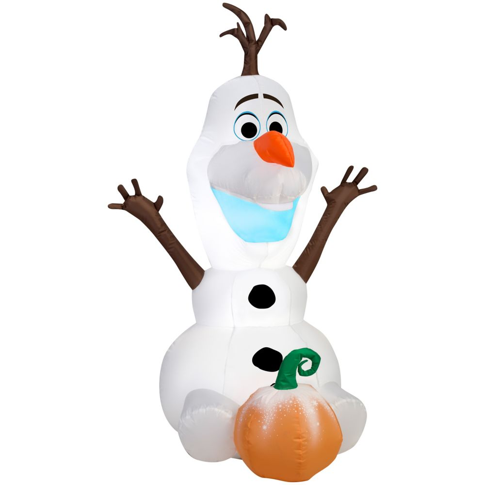 3.5 Foot Inflatable Sitting Olaf With Pumpkin
