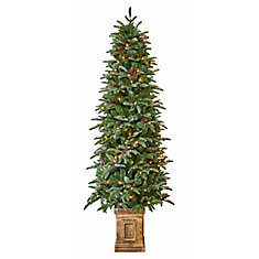 6.5 ft. Pre-Lit Evergreen Tree with Pinecones