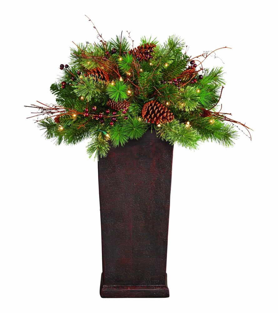 3 Feet Pre-Lit Decorated Potted Tree