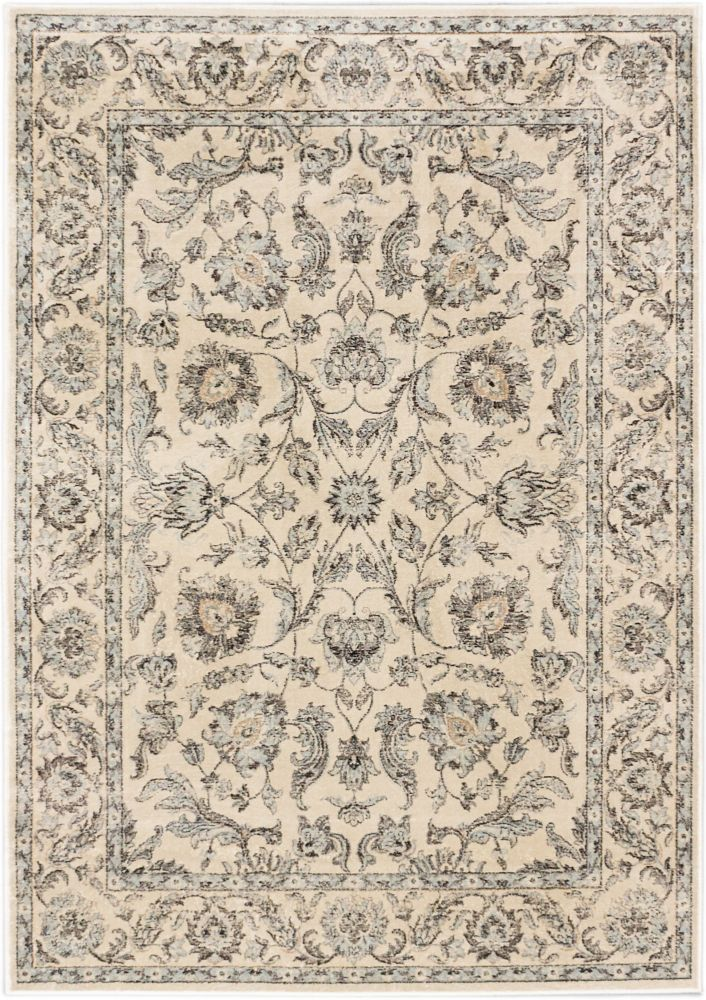 ECARPETGALLERY Prescilla Off-White 5 ft. 3-inch x 7 ft. 3-inch Indoor Traditional Rectangular Area Rug