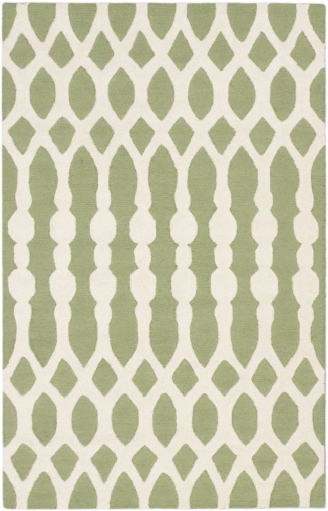 Kasbah Cream, Light Green Hand Tufted Rug 5 Feet 0 Inch X 8 Feet 0 Inch