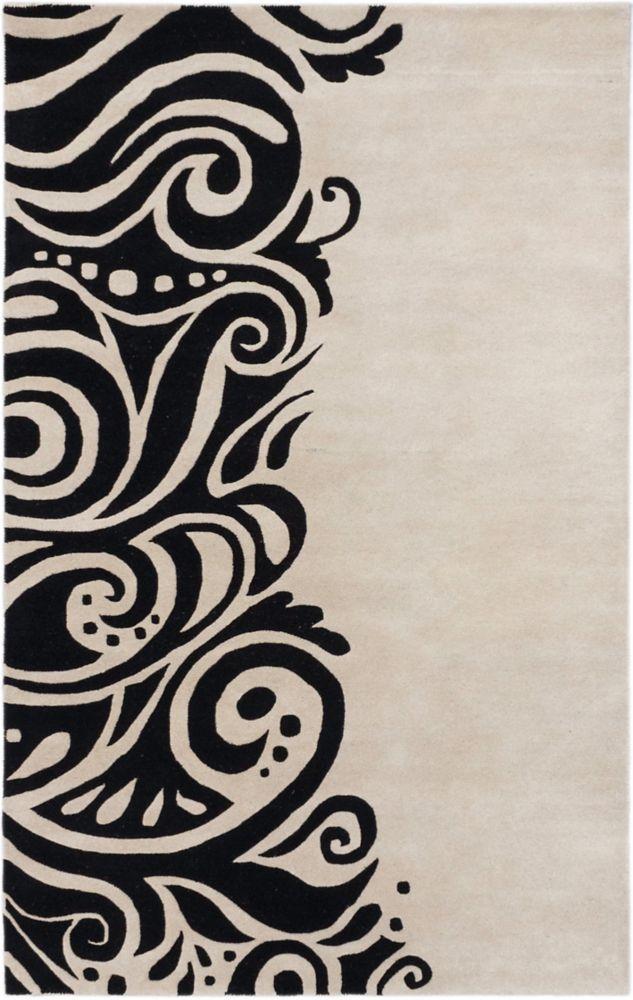 Tapis touffete a la main Gris Clair, Noir Impressions, 5 pi 0 po x 8 pi 0 po