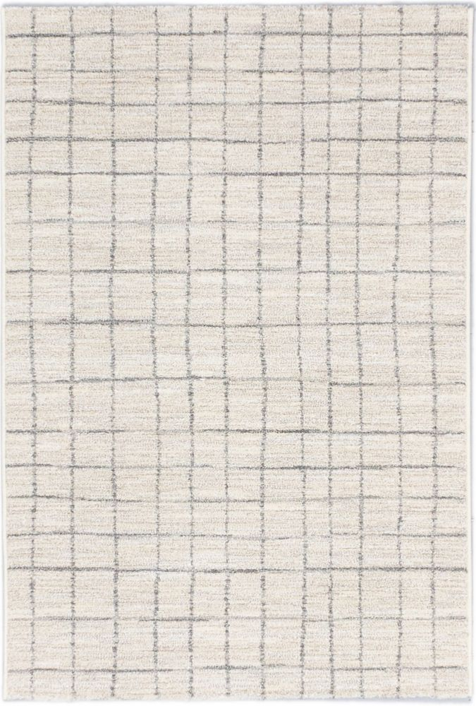 Noto Beige, Cream, Light Gray Power Loomed Rug 5 Feet 3 Inch X 7 Feet 3 Inch