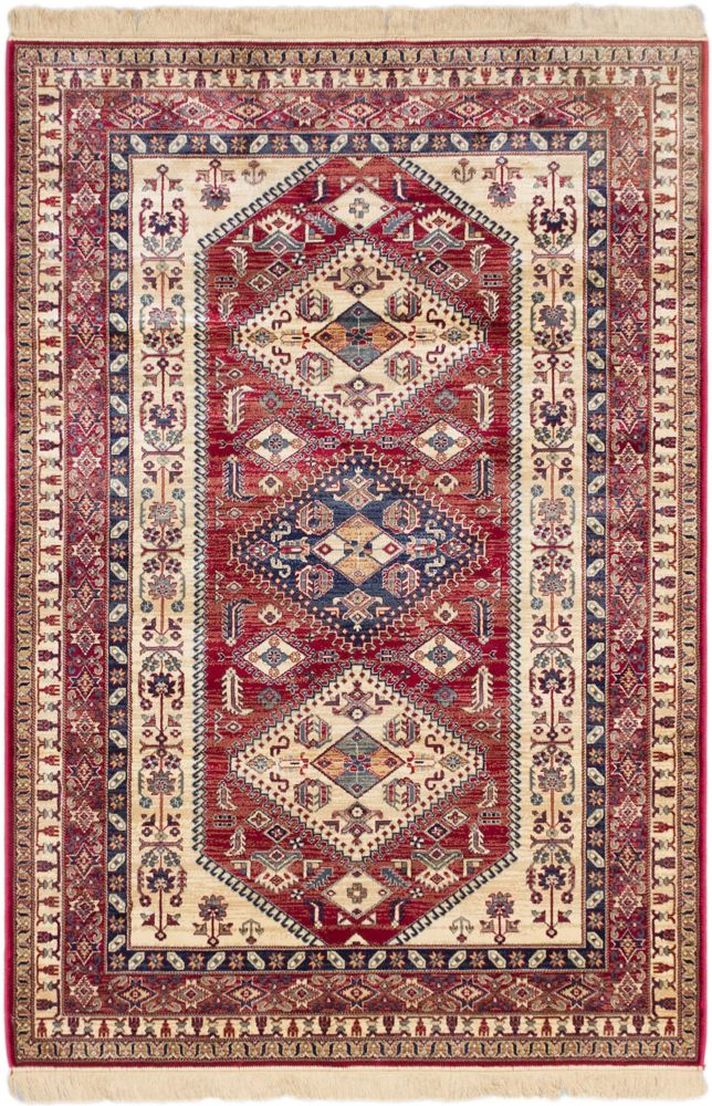 Shiravan Cream, Red Power Loomed Rug 3 Feet 11 Inch X 5 Feet 7 Inch