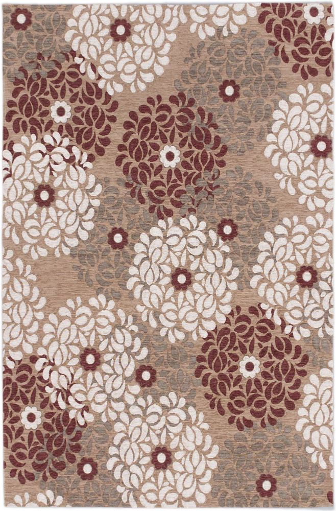 Portico Beige, Dark Red Power Loomed Rug 4 Feet 0 Inch X 6 Feet 0 Inch