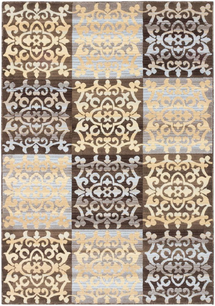 Crown Dark Brown, Light Gold Power Loomed Rug 6 Feet 7 Inch X 9 Feet 6 Inch