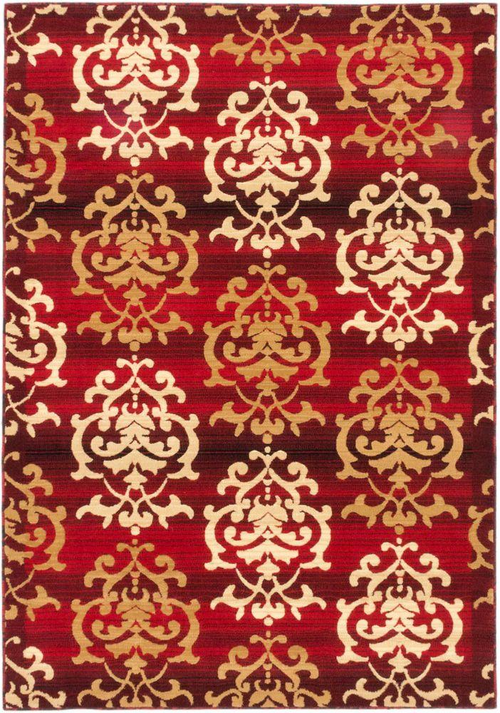 Tapis fait a la machine Rouge Crown, 3 pi 11 po x 5 pi 3 po