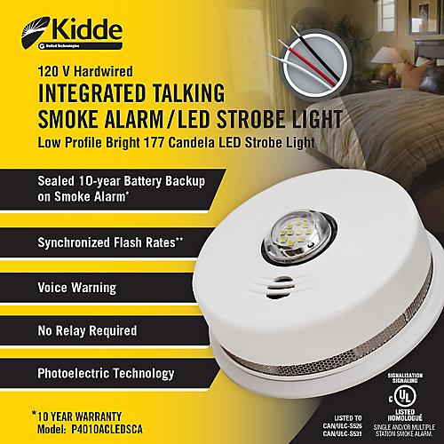 Integrated Talking Smoke Alarm / LED Strobe Light 120V With 10 Year BBU
