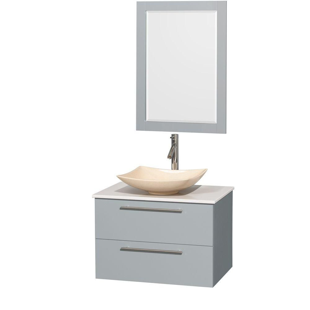 Amare 30-inch W Vanity in Dove Grey with Solid Top, Marble Sink and 24-inch Mirror