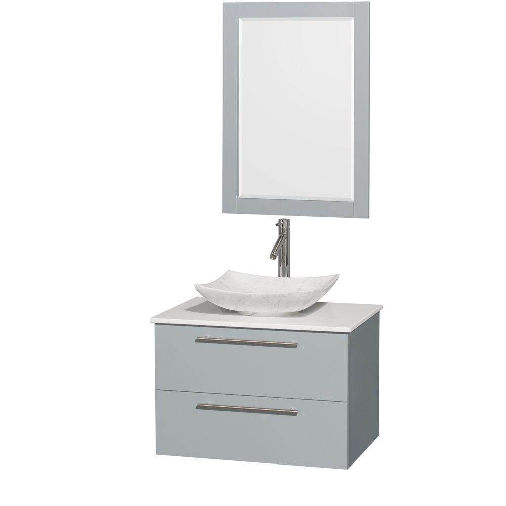Amare 30-inch W Vanity in Dove Grey with Solid Top, Carrara Sink and 24-inch Mirror