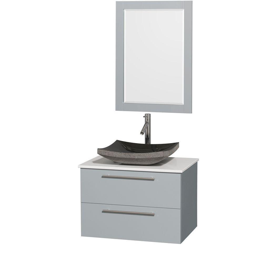 """Meuble s. bains simp Amare 30"""" gris colombe, comptoir solide blanc, évier granit noir, mir 24"""""""