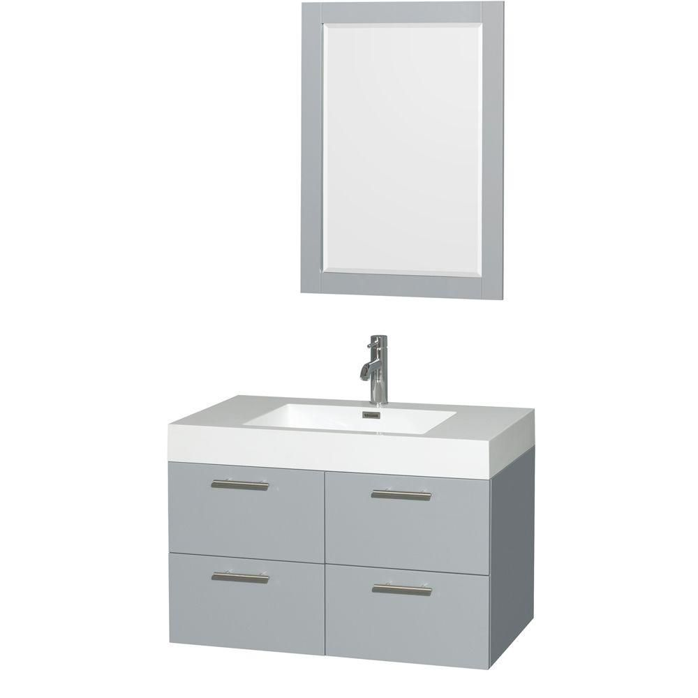 Wyndham Collection Amare 35-inch W 2-Drawer 2-Door Wall Mounted Vanity in Grey With Acrylic Top in White With Mirror