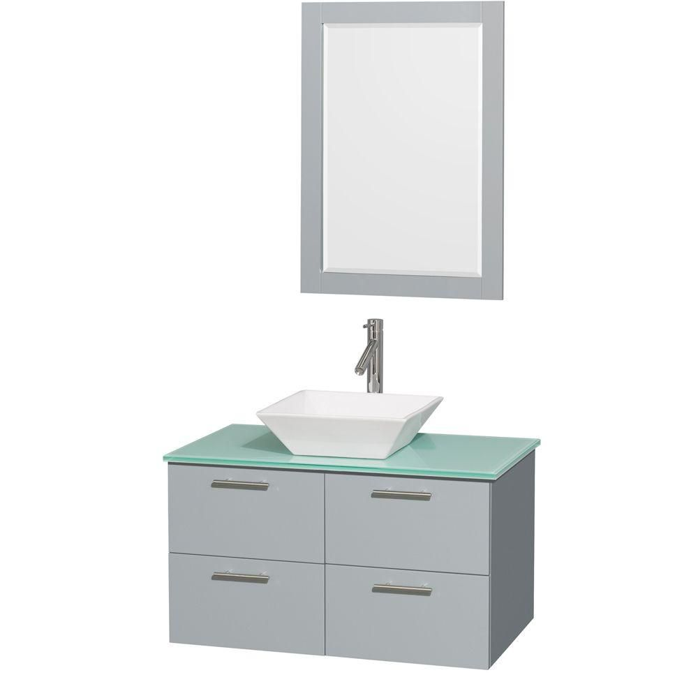 Amare 36-inch W Vanity in Dove Grey with Glass Top, Porcelain Sink and 24-inch Mirror