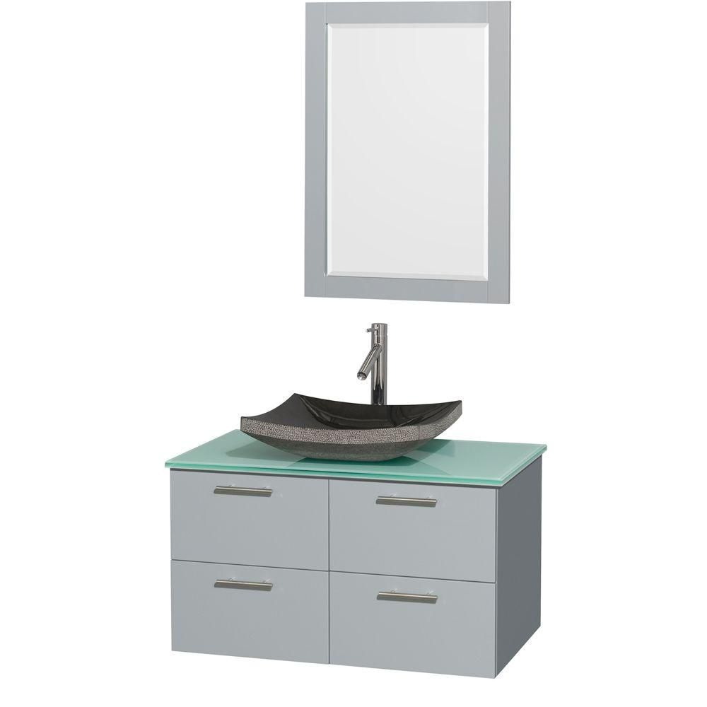 Amare 36-inch W Vanity in Dove Grey with Glass Top, Granite Sink and 24-inch Mirror